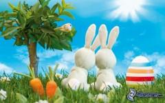 lapins-de-paques,-oeufs-peints,-carotte,-bonsai,-arbre,-pelouse-153228