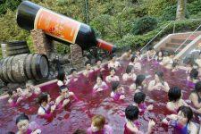 Bain de beaujolais dans un spa (Japon, 2008)