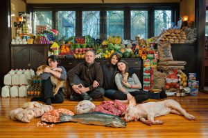 The Waldt family at their home in New Jersey. Surrounded by $2500 worth of food. 90 Douglas Rd, Glen Ridge, NJ t: 973-259-0387