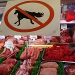 "Butcher Sean Basey works behind a ""no horsemeat"" sign at Bates Butchers in Market Harborough, central England, February 20, 2013.  REUTERS/Darren Staples   (BRITAIN - Tags: SOCIETY CRIME LAW FOOD) - RTR3E17O"